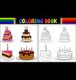coloring book birthday cake with candles vector image