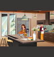 couple preparing for thanksgiving dinner in the vector image
