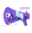 creative blogging isometric concept people vector image vector image