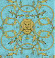 decorative lattice with a lion in classic style vector image