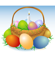 Easter basket with candle vector image vector image