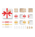 empty open craft gift box red color bow knot vector image