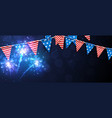 festive banner with american flags vector image vector image