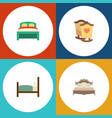 flat bedroom set of furniture bed crib and other vector image vector image