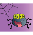Four Eyed Creepy Spider Suspended From A Web vector image