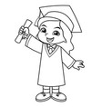 girl graduation with toga and certificate bw vector image