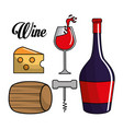 glass bottle of wine barrel cheese and take out vector image vector image