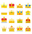 gold crown king icons set nobility collection vector image vector image