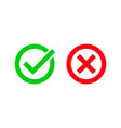 green tick and red checkmark circle icons vector image vector image