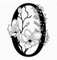 hand drawn floral zero monogram and logo vector image vector image