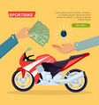 hand passing key process of buying motorbike vector image