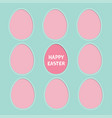 happy easter text painted egg frame set window vector image vector image