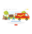 home moving company landing page delivery man vector image vector image