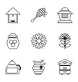 honey production icons set outline style vector image vector image