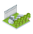 isometric garden with stone vector image vector image