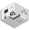 isometric reception room interior sofa desk table vector image