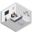 isometric reception room interior sofa desk table vector image vector image