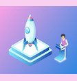 launching rocket man with business project vector image vector image