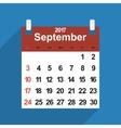 Leaf calendar 2017 of September days vector image