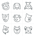 Line Icons Style fun dog icon vector image