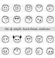 linear set of simple hand-drawn emoticons vector image