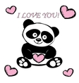 Little cute panda with hearts isolated on white vector image