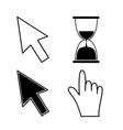Mouse hand arrows and hourglass Black color vector image