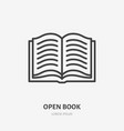 open book flat line icon thin sign of vector image