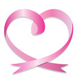pink ribbon heart on white background love concept vector image vector image
