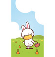 rabbit holding basket with eggs wearing face mask vector image vector image