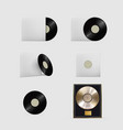 realistic vinyl records isolated set on white vector image