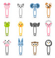 safety pin collection with colorful animal heads vector image