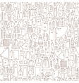 Seamless doodle pattern with clothes and sewing vector image vector image