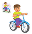 small boy ride bikes vector image