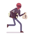 Thief is running away with stolen money vector image
