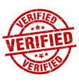 Verified round red grunge stamp vector image