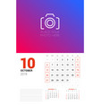 wall calendar planner template for october 2019 vector image vector image
