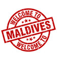welcome to maldives red stamp vector image vector image
