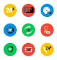 flat 24 hours icons set vector image