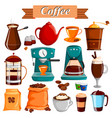 set of different coffee food product vector image