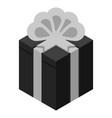 black grey gift box icon isometric style vector image