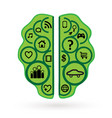 brainstorming business green brain icon vector image vector image