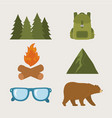 camping zone set icons vector image vector image