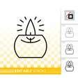 candle flame black line fire light icon vector image vector image