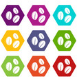 coffee beans icon set color hexahedron vector image vector image