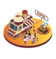 coffee food truck isometric artwork vector image