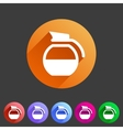 coffee pot kettle icon flat web sign symbol logo vector image