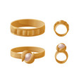 collection of golden engagement rings with pearls vector image vector image