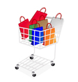 Colorful Paper Shopping Bags in Shopping Cart vector image vector image