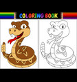 coloring book with cartoon rattlesnake vector image vector image